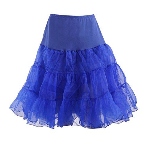HDE Women's Plus Size Petticoat Vintage Swing Dress Underskirt Tutu Skirt (XX-Large, Royal Blue) -