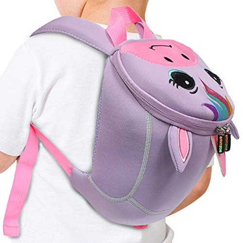 Emmzoe Toddler 3D Animal Backpack with Detachable Safety Harness Leash - Lightweight, Water Resistant, Adjustable - Fits Snacks, Food, Toys (Purple Unicorn)