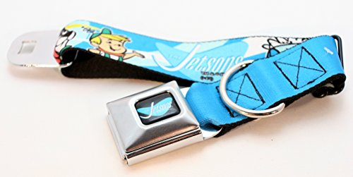 Buckle-Down Seatbelt Buckle Dog Collar - THE JETSONS Group Faces Blues/Yellow - 1.5