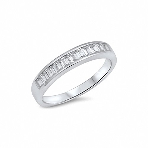 Band Bezel Eternity Half (Blue Apple Co. Half Eternity Simulated Baguette Cubic Zirconia Band Ring 925 Sterling Silver,Size-6)