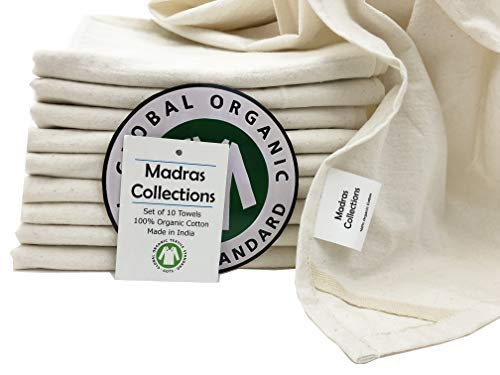 Madras Collections ORGANIC cotton Kitchen Vintage Flour Sack Kitchen Dish Towel, Commercial Restaurant Grade, Kitchen towels, (Creamy White, 28x28 Set of 10 Towels)