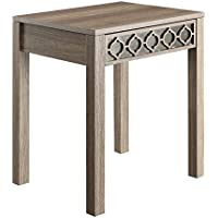 Office Star Helena End Table with Mirror Accent Panel, Greco Oak Finish
