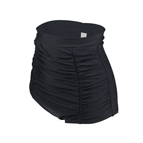 30% REDUZIERT YoungSoul Vintage 50er Rockabilly Kariert Bademode - Bikinislip mit Raffung - Formende Bikinihose mit hohe Taille für Damen Schwarz bZ0nn35H