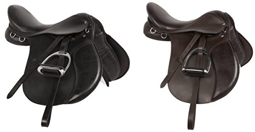 (NEW ENGLISH EVENTING ALL PURPOSE JUMPING LEATHER HORSE SADDLE CLOSE CONTACT TACK 15 16 17 18 (Brown,)
