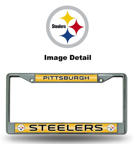 NFL Pittsburgh Steelers Bling Chrome License Plate Frame with Glitter Accent