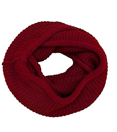 Knit Infinity Scarf for Women Thick Winter Warm Chunky Circle Loop Scarves (Wine Red)
