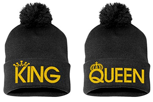 King & Queen, Pom Pom on Top Couple Matching, Warm & Stylish 12 inch Long Beanie When Unfolded