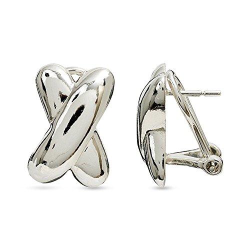 LeCalla Sterling Silver Jewelry Cross Design Omega Pierced Earrings Everyday Workwear for Women ()