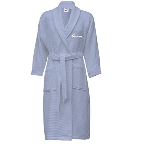 Buy mens waffle dressing gown white - 7