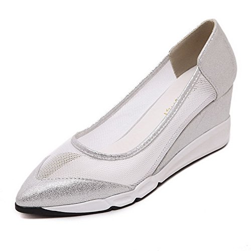 VogueZone009 Women's Soft Material Pull-On Pointed Closed Toe Kitten-Heels Solid Pumps-Shoes Silver tKZ20Sr