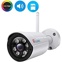 Ctronics (CNV)Color Night Vision IP Camera, WIFI Wireless Security Camera Surveillance Bullet Camera IP65,Audio,HD 720P,30M IR,Motion Detect,Email Alert,PC,Phone,Tablet,CMS Remote,16G SD Included