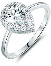 Yellow Gold Tone and Pear Shape White Cubic Zirconia Ring Simulate Diamond Bride Bridesmaid Band