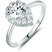 GULICX Yellow Gold Tone and Pear Shape White Cubic Zirconia Ring Simulate Diamond Bride Bridesmaid Band