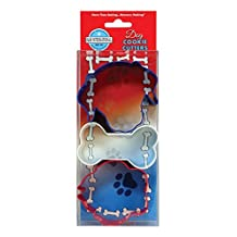 R&M International 5158 Dog Cookie Cutters, Dog, Bone, Paw Print, 3-Piece Set