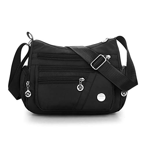 Casual Top Multi pocket Hobo Crossbody Messenger Color Cross Tote Ladies Nylon Evening Handbags Handle Satchel Wedding Handbag Solid Women Party Bags Travel GUBENM Black Body Bag Shoulder 8CU1qxwgq