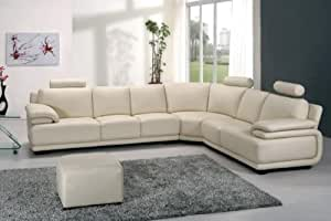 VIG Furniture A31 Cream Leather Living Room Sectional Sofa