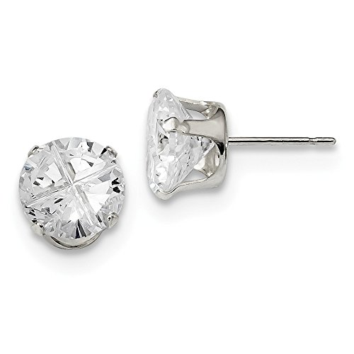 - 925 Sterling Silver 9mm Round Snap Set CZ Stud Earrings
