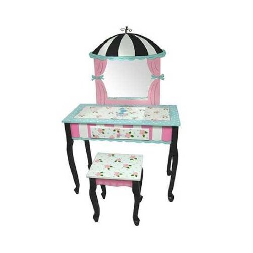 LC Creations Poodles In Paris Vanity with Mirror and Bench by LC Creations