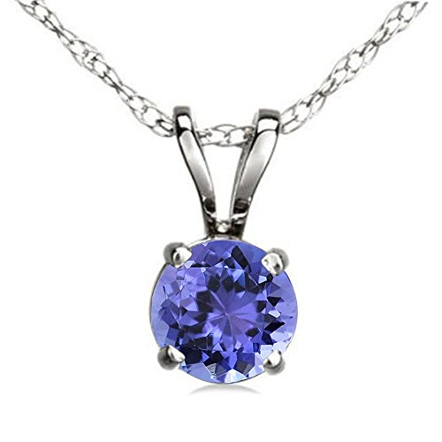 Dazzlingrock Collection 14K 7 mm Round Cut Tanzanite Ladies Solitaire Pendant (Silver Chain Included), White Gold