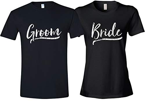 Texas Tees Matching Shirts for Newlyweds, Bride Groom T-Shirts, Ladies Medium & Mens Large