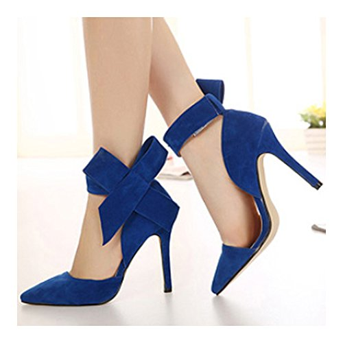 Pointed Peep Women Sandals Bowknot Big High Super blue 42 Heel toe RPcUEqSyS