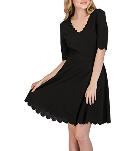 (SUNNOW Women's O-Neck 3/4 Sleeve Pleated Tunic Wavy Skater Dress (L, Black-1))