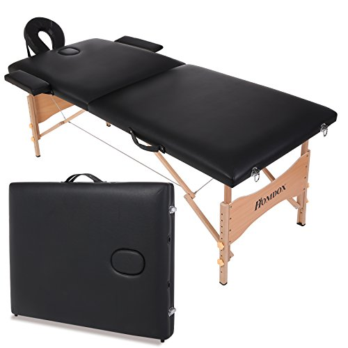 Homdox Portable Massage Table,Two-fold and Wooden Feet w/Free Carry Case,black by Homdox