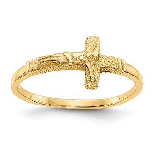 (14k Yellow Gold Finish Childs Crucifix Cross Religious Band Ring Size 3.50 Baby Fine Jewelry For Women Gift Set)