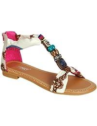 GIGI 92 Gladiator Tribal Decorated Flat Sandals Fushia