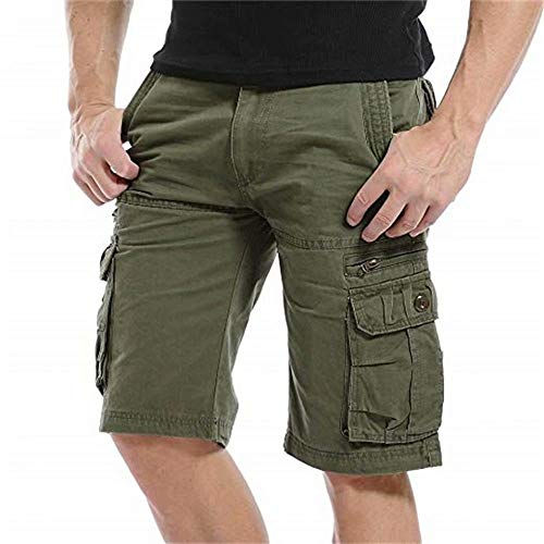QYeah Mens Cargo Shorts Cotton Loose Fit Twill Summer Combat Shorts(No Belt) Army Green