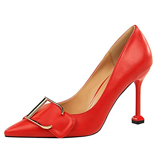 Latasa Womens Buckle Pointed-Toe Dress High Heels Red