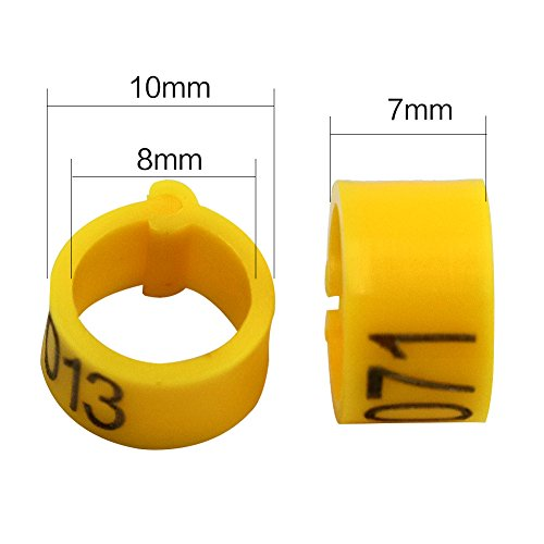 iherdsman 001-100 Multi-color Bird Leg Bands Numbered 8 mm Pigeon Parrot  Chicks Duck Clip Rings Band (yellow)