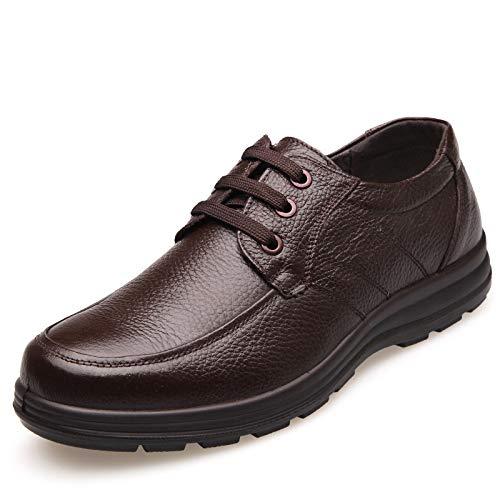 Marrón tip Derby De Zapatos Con Informal U Planos Cordones Para Cuero Suela Genuino Hombre Blanda 6FgPFBqx