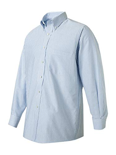Van Heusen 57800 Mens Classic Long-Sleeve Oxford - Blue & White Stripe, 3XL ()