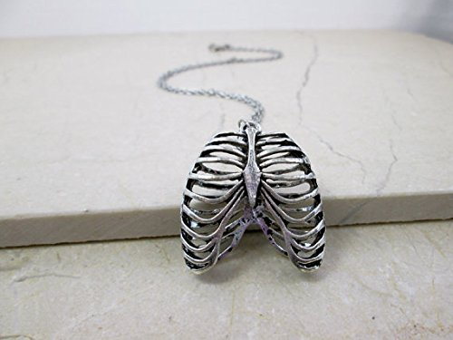 Jewelry Tycoon Antique Silver Human Anatomy Rib Cage Necklace Anatomical Jewelry Medical Student Gift Trendy Punk Cool Necklace Edgy Hipster Jewelry Teen