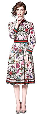 LAI MENG FIVE CATS Women's 3/4 Sleeve Floral Print Button up Casual A-line Midi Dress