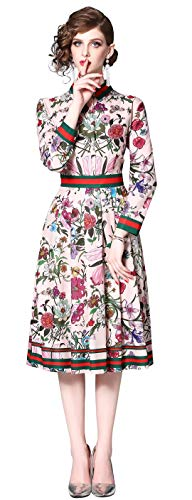 LAI MENG FIVE CATS Women's 3/4 Sleeve Floral Print Button up Casual A-line Party Swing Midi Dress