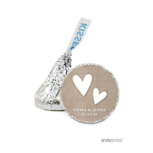 Andaz Press Personalized Chocolate Drop Labels Stickers Single, Wedding, Double Hearts Country Burlap, 216-Pack, Custom Name, For Hershey's Kisses Party Favors, Gifts, Decorations