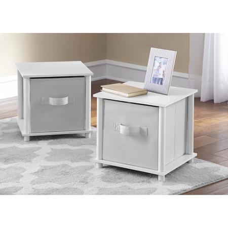 Mainstays No Tools Single Cube Storage Shelf Side Tables, Set of 2 (White)