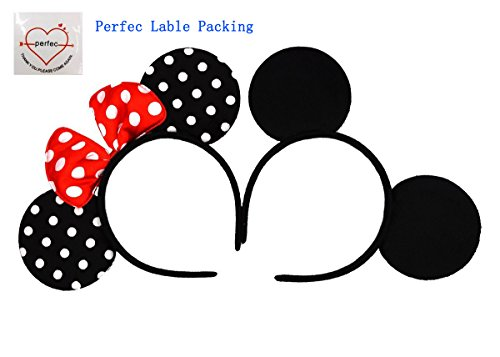 Mickey Mouse Ears Solid Black and Bow Minnie Headband for Boys and Girls Birthday Party or Celebrations Set of 2 ()