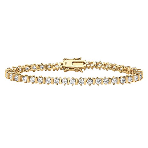 Round White Cubic Zirconia 18k Gold over Sterling Silver Tennis Bracelet 8