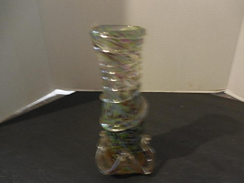 Mid Century Murano Confetti Glass with Applied Clear Swirl Vase