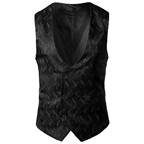 MODOQO Men's Suit Vest Double Breasted Slim Fit Retro Tuxedo Dress Waistcoat (Black,XL)