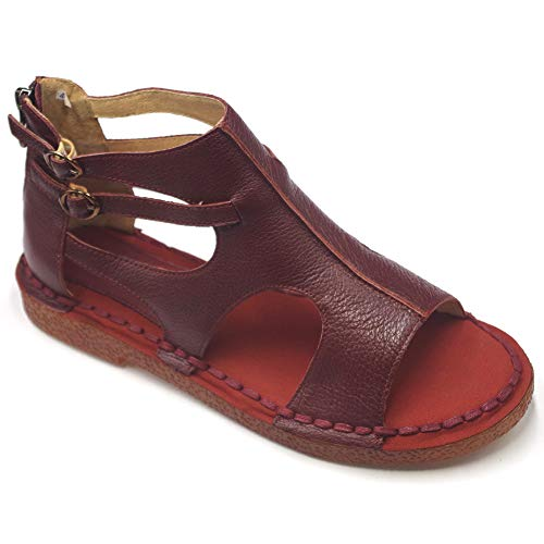 Womens Leather Sandals- Low Wedge Soft Outdoor Dress Comfort Sandals for Women Red,8.5-9 (Leather Wedge Low)