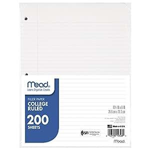 Mead Filler Paper, Loose Leaf Paper, College Ruled, 200 Sheets/Pack (15326)