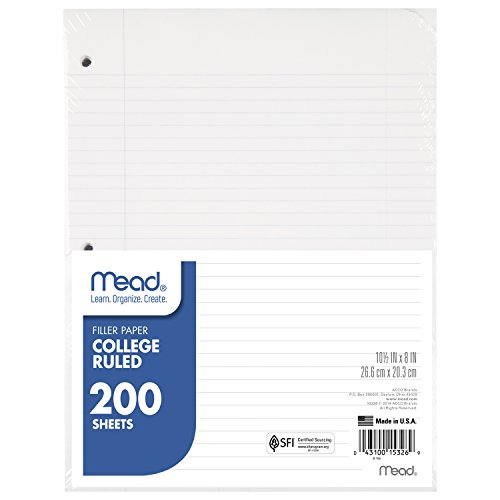 Mead Filler Paper, Loose Leaf Paper, College Ruled, 200 Sheets/Pack (15326)