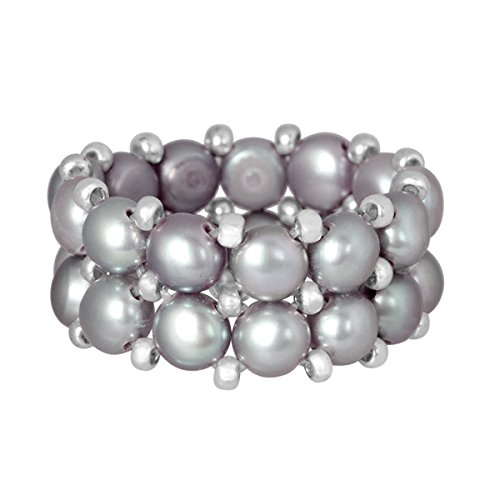 Beautiful Silver Beads Cultured Grey Freshwater Pearl Stretch Ring
