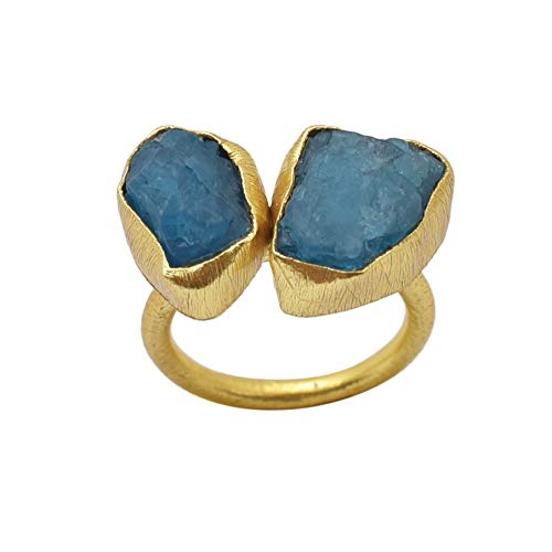 Apatite Rough Gemstone Ring, Gold Plated Ring, Handmade Designer Ring,