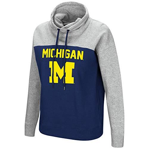 - Colosseum NCAA Women's-The Talk-Funnel Neck Pullover Sweatshirt-Michigan Wolverines-Navy-Medium
