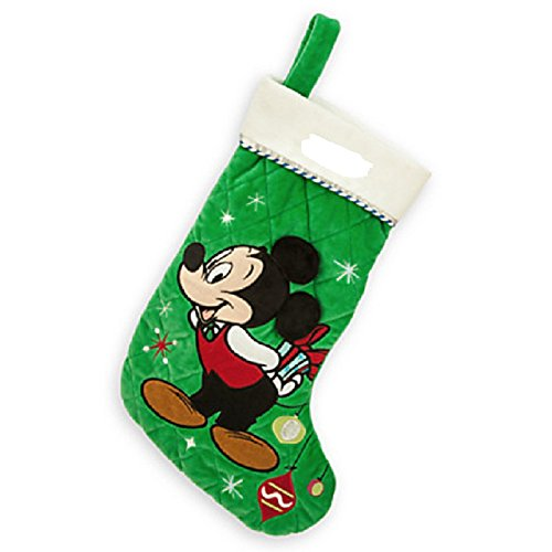 Disney Store Mickey Mouse Christmas Stocking Plush Green Decorated New
